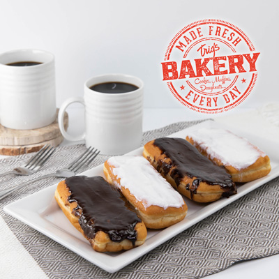 Bakery Fresh Long Johns 4 ct. White or Chocolate Frosted $2.99