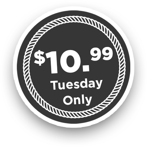 10.99 chicken dinner Tuesdays only price badge image