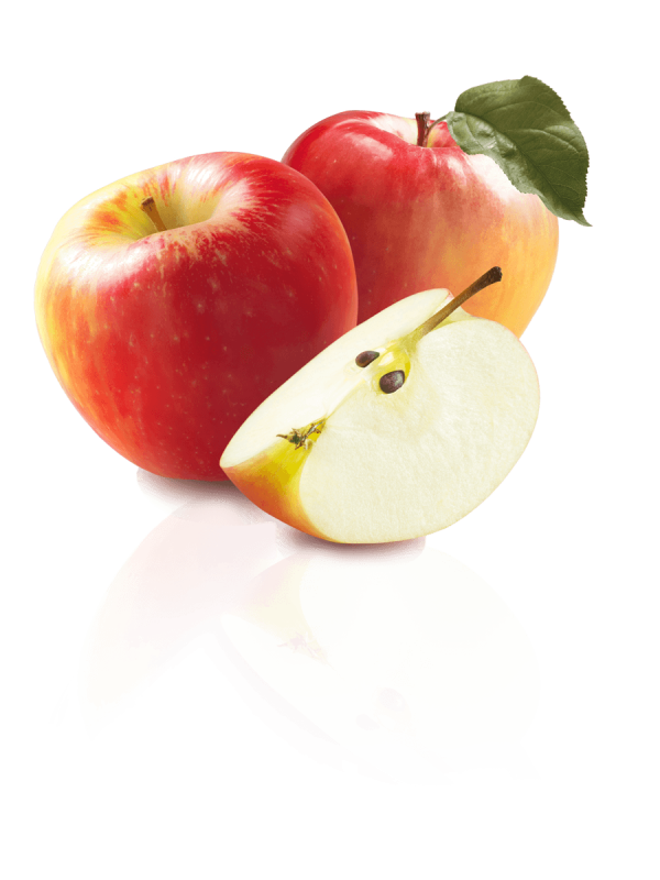 Image of a Honeycrisp apple and slice. Wilson Creek Orchard apples available at Trig's locations each Fall.